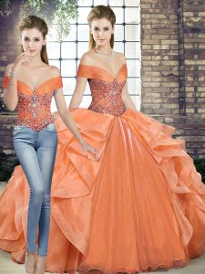 Sleeveless Lace Up Floor Length Beading and Ruffles Sweet 16 Dresses