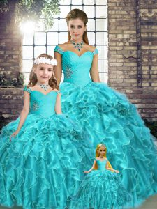 Fitting Beading and Ruffles Quince Ball Gowns Aqua Blue Lace Up Sleeveless Brush Train