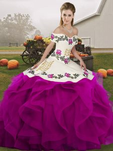 White And Purple Sleeveless Embroidery and Ruffles Floor Length Sweet 16 Dress