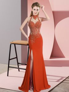 Customized Orange Red Column/Sheath Chiffon High-neck Sleeveless Lace and Appliques Floor Length Backless Prom Party Dress