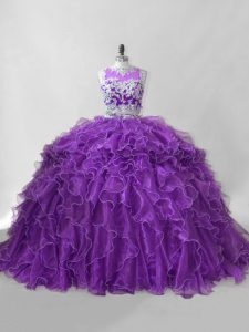 Sleeveless Brush Train Beading and Ruffles Zipper Sweet 16 Dress