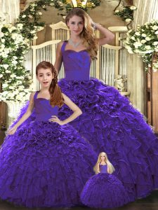 Beautiful Purple Organza Lace Up Halter Top Sleeveless Floor Length Ball Gown Prom Dress Ruffles