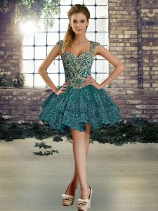 Beading and Lace Homecoming Dress Dark Green Lace Up Sleeveless Mini Length