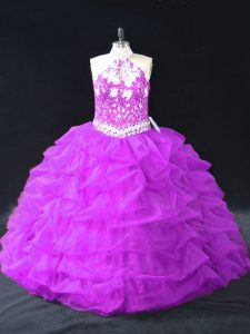 Clearance Halter Top Sleeveless Quinceanera Dress Floor Length Beading and Pick Ups Purple Organza