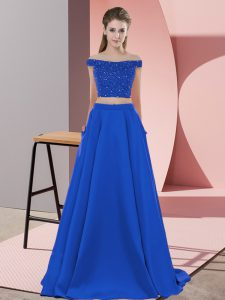 Royal Blue Dress for Prom Off The Shoulder Sleeveless Sweep Train Backless