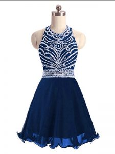 Mini Length Lace Up Homecoming Dress Navy Blue for Prom and Party and Military Ball with Beading