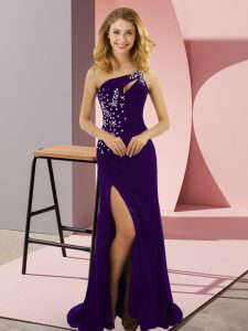 Purple Lace Up One Shoulder Beading Dress for Prom Elastic Woven Satin Sleeveless Sweep Train