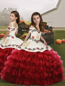 Red Sleeveless Floor Length Embroidery and Ruffled Layers Lace Up Pageant Dress Womens