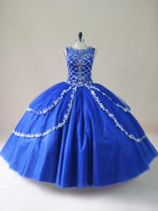 Nice Floor Length Royal Blue Ball Gown Prom Dress Tulle Sleeveless Beading
