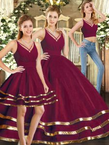 Modest V-neck Sleeveless Vestidos de Quinceanera Floor Length Ruffled Layers Burgundy Tulle