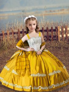 Elegant Gold Straps Lace Up Beading and Embroidery Pageant Dress for Teens Sleeveless