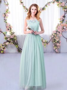 Superior Tulle Sleeveless Floor Length Bridesmaid Gown and Lace and Belt