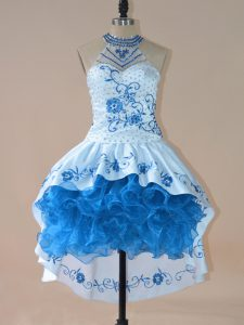 Embroidery and Ruffles Blue Lace Up Sleeveless High Low