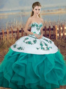 Floor Length Ball Gowns Sleeveless Turquoise Quinceanera Gown Lace Up
