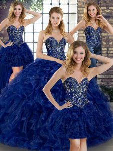 Luxurious Sleeveless Floor Length Beading and Ruffles Lace Up Quinceanera Dress with Royal Blue