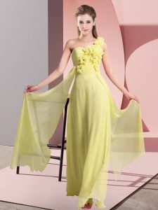 Beautiful Yellow One Shoulder Neckline Hand Made Flower Quinceanera Court Dresses Sleeveless Lace Up