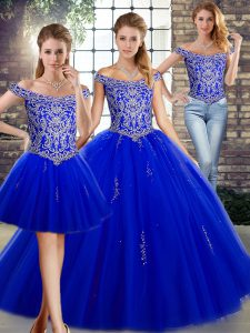 Royal Blue Tulle Lace Up Ball Gown Prom Dress Sleeveless Floor Length Beading