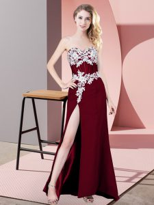 Extravagant Burgundy Column/Sheath Lace and Appliques Prom Dress Zipper Chiffon Sleeveless Floor Length