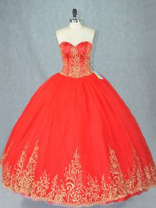 Red Tulle Lace Up Sweetheart Sleeveless Floor Length Sweet 16 Quinceanera Dress Beading