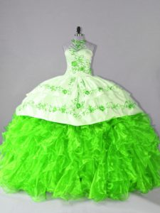 Gorgeous Halter Top Neckline Embroidery and Ruffles Ball Gown Prom Dress Sleeveless Lace Up