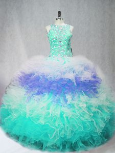 Floor Length Ball Gowns Sleeveless Multi-color Quince Ball Gowns Zipper