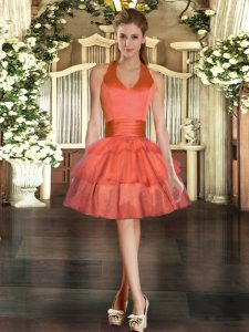 Glorious Orange Red Ball Gowns Halter Top Sleeveless Tulle Mini Length Lace Up Ruffled Layers Red Carpet Gowns