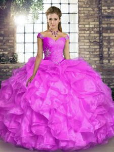 Suitable Off The Shoulder Sleeveless Lace Up Ball Gown Prom Dress Lilac Organza