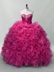 Delicate Hot Pink Organza Lace Up Sweetheart Sleeveless Floor Length Quinceanera Gowns Ruffles and Sequins