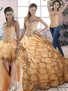 Gold Vestidos de Quinceanera Sweet 16 and Quinceanera with Ruffled Layers Halter Top Sleeveless Brush Train Lace Up