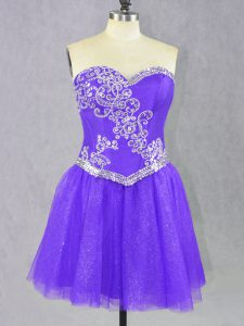 Decent Lavender Prom Evening Gown Prom and Party with Beading Sweetheart Sleeveless Lace Up