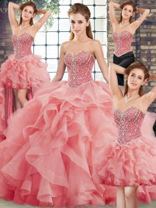 New Arrival Sweetheart Sleeveless Sweet 16 Quinceanera Dress Brush Train Beading and Ruffles Watermelon Red Tulle