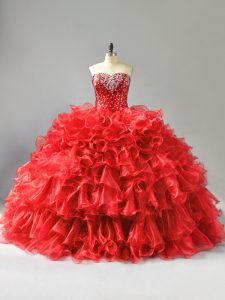 Floor Length Ball Gowns Sleeveless Red Sweet 16 Dress Lace Up