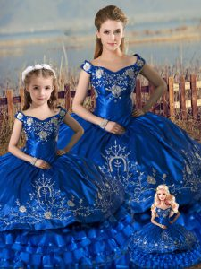 Hot Selling Ball Gowns Sweet 16 Quinceanera Dress Royal Blue Off The Shoulder Satin and Organza Sleeveless Floor Length Lace Up