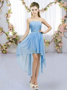 Deluxe Blue Chiffon Lace Up Court Dresses for Sweet 16 Sleeveless High Low Beading