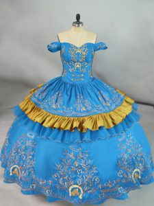 Floor Length Lace Up Vestidos de Quinceanera Blue for Sweet 16 and Quinceanera with Embroidery
