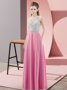 Best Selling Scoop Sleeveless Prom Evening Gown Floor Length Beading Rose Pink Satin