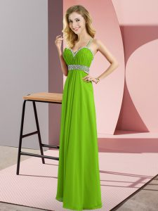 Floor Length Criss Cross Homecoming Dress for Prom and Party with Beading