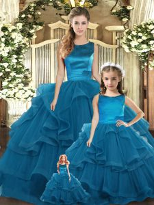 Teal Ball Gowns Tulle Scoop Sleeveless Ruffles Floor Length Lace Up Sweet 16 Quinceanera Dress