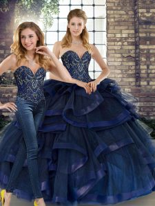 Great Floor Length Navy Blue Sweet 16 Dresses Sweetheart Sleeveless Lace Up