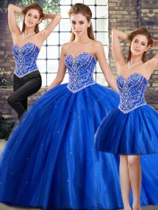 Traditional Blue Sleeveless Brush Train Beading 15th Birthday Dress