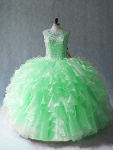 Beading and Ruffles Quinceanera Dress Lace Up Sleeveless Floor Length