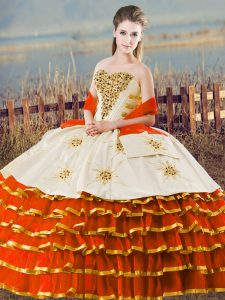 Excellent Floor Length Orange Quinceanera Dress Sweetheart Sleeveless Lace Up