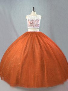 Sleeveless Floor Length Beading Zipper Sweet 16 Quinceanera Dress with Rust Red