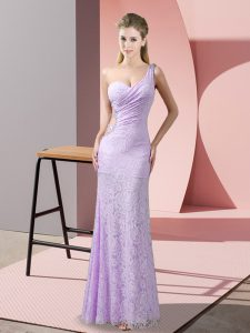 Vintage Lavender Column/Sheath Lace One Shoulder Sleeveless Beading and Lace Floor Length Criss Cross Prom Gown