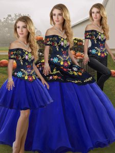 Sumptuous Royal Blue Three Pieces Off The Shoulder Sleeveless Tulle Floor Length Lace Up Embroidery Quinceanera Gown