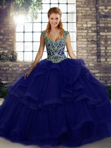 Free and Easy Purple Tulle Lace Up Sweet 16 Dresses Sleeveless Floor Length Beading and Ruffles
