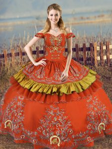 Admirable Rust Red Satin and Organza Lace Up Quinceanera Dress Sleeveless Floor Length Embroidery