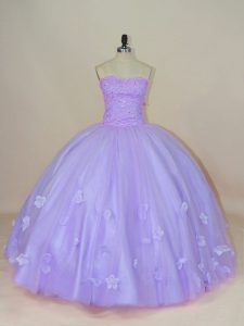 Lavender Tulle Backless Sweet 16 Quinceanera Dress Sleeveless Floor Length Beading and Hand Made Flower