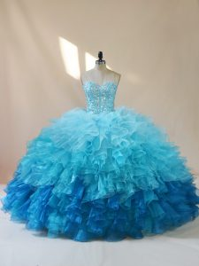 Cute Floor Length Multi-color 15th Birthday Dress Organza Sleeveless Beading and Ruffles