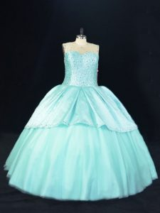 Aqua Blue Ball Gowns Scoop Sleeveless Satin and Tulle Floor Length Lace Up Beading Vestidos de Quinceanera